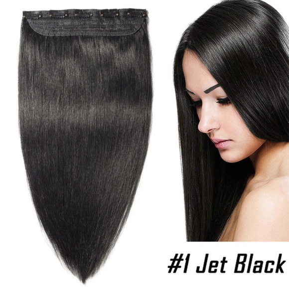 Accessories Straight Hair Extensions 26 1 Jet Black Real Poshmark
